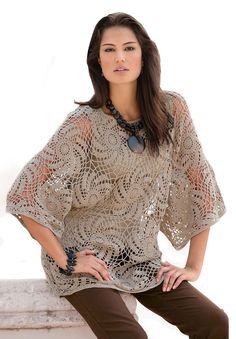Pinwheel Crochet Sweater by Denim 24/7 | Plus Size Pullovers | Roamans