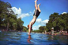 Diving into Barton Springs Pool