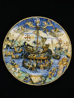 Dish depicting a ship battle (allegory of the Christian Church), workshop of Virgiliotto Calamelli, Faenza, Italy dated 1543 or 1545, tin-glazed earthenware | Calamelli, Virgiliotto | V&A Search the Collections