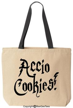 Accio Cookies Funny Harry Potter Baby Reusable Canvas Tote Bag by BeeGeeTees� (Black Handle) Harry Potter Gift Diaper Bag Funny Tote