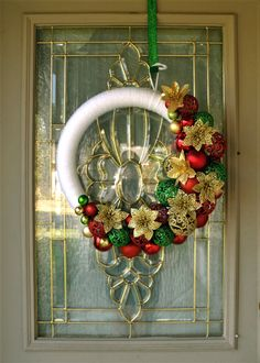 Christmas Wreath, Christmas Wreath for Front Door, Ornament Wreath, White Wreath, Christmas Decor, Christmas Ornament Wreath, Poinsettias