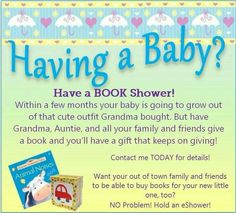 **** SPECIALIZED EVENTS!! **** So you have a loved one looking for neat shower ideas!!!  Usborne books is a great way to get books into the hand of baby right away as development begins immediately!  Contact me today to schedule your event today... includes full customization, fun raffle prizes, ONLINE options for those near or far, extra incentive for mom-to-be sponsored by ME, and so much more!  Check us out at:  https://1103044.myubam.com  or on Facebook…