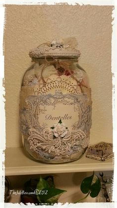 Large altered jar for my shabby laces! ♡