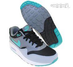 Nike Air Max 1 - baskets enfant GS - gris, noir et bleu turquoise #tuquoise #basket #baskets #sneaker #airmax #max #kids #sport