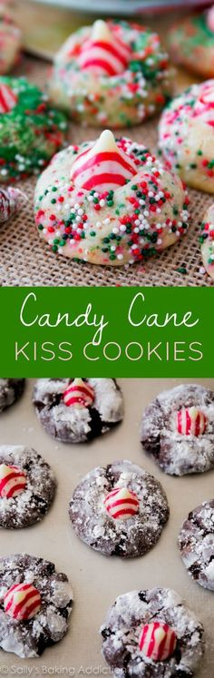 Make these holiday cookies in either chocolate or vanilla version for Christmas! With candy cane Hershey Kisses and sprinkles!