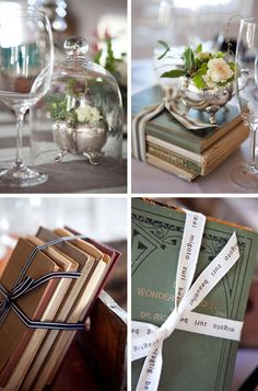 We don't like Mondays that much here at TPB, especially not a Monday after a long weekend. We thought you might feel the same, so we chose to share this happy wedding with you. Summer Wedding, Wedding Reception, Dream Wedding, Wedding Day, The Bell Jar, Bell Jars, Book Flowers, Printed Ribbon, Gray Weddings