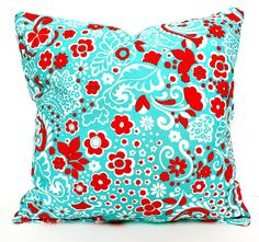 DECORATIVE PILLOW Cover - THROW Pillows - 18 x 18 inches - Red and Turquoise Blue flowers. $15.00, via Etsy.