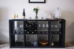 IKEA KALLAX storage unit turned into wine rack