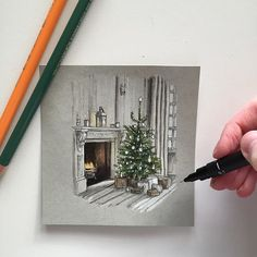 #tb to last year's Christmas illustration... not long to go!  #art #drawing #pen #pencil #sketch #illustration #linedrawing #architecture #interior #interiordesign #christmas #christmastree