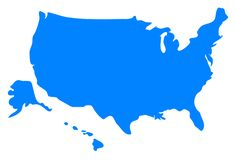 USA Map Silhouette  by @IslandVibz, A map silhouette of the U.S.A. including Alaska and Hawaii., on @openclipart