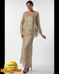 Soulmates C1060 Crochet Beaded Silk Lace Fit-n-Flare Ankle Length 3 pc Jacket Dress (Missy, Plus Sizes)