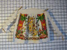 Apron California character print Vintage 60s small by foundagain (Home & Living, Kitchen & Dining, Linens, Aprons, Souvenir, California, Tourist, Keepsake, Apron, character print, Kitsch)