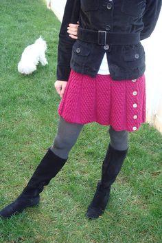 amazing fuschia knit skirt - though I think I need to make it a little longer...