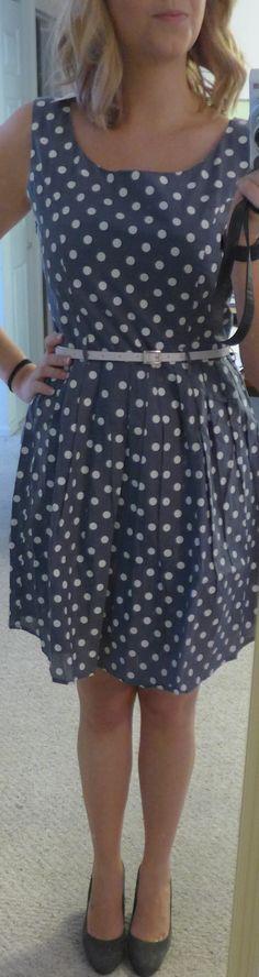 Stitch Fix Yumi Jodie Chambray Dot Pring Fit and Flare Dress - Monika wearing close up front - Stitch Fix