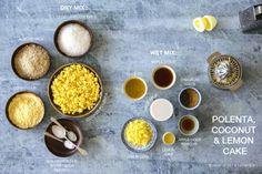 Polenta & Coconut Lemon Cake Recipe on Corn Recipes, Cereal Recipes, Almond Recipes, Round Cake Pans, Round Cakes, Apple Cider Vinegar Lemon, How To Cook Polenta, Food 52, No Bake Cake