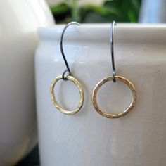 Hammered brass earrings on sterling silver French by BrookeJewelry