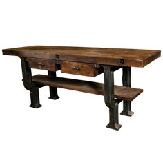 1stdibs.com | Superb quality French cast iron base and beech industrial work table, c. 1900
