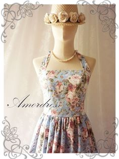 Floral Dress Blue with Romantic Rose Heaven Vintage by Amordress, $45.00