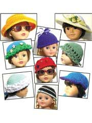 All Hats! Crochet Pattern Download from AnniesCatalog.com -- Quick and easy hats for your 18-inch doll! 9 designs included!