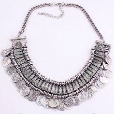 Boho Vintage Coin Necklace Brand new in package. Silver color. Super trendy! Jewelry Necklaces