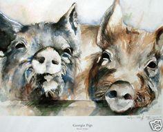 Georgia Pigs Watercolor Print-Free Shipping. $18.95, via Etsy.