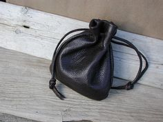 The very best leather....Handmade  Large  Black Leather  Drawstring by Shirlbcreationstoo, $40.00