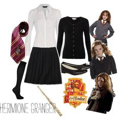 Love this Harry Potter outfit -- a Hogwarts Uniform representing Gryffindor and Hermione Granger. For practicality I'd team it with blue jeans. Harry Potter Diy, Harry Potter Cosplay, Harry Potter Hermione, Harry Potter Outfits, Ron Weasley, Hermione Halloween Costume, Hermione Granger Costume, Halloween Halloween, Hogwarts Uniform