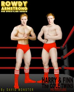 Meet HARRY & FINN, The COLE TWINS, from the www.RowdyArmstrong.com Series of Novels & the www.allworldsprowrestling.com Game. They may just look like cute #twinks, but they're actually mean, double-teaming heels who love to squash bigger #MuscleBoys. #Gay #ProWrestling Wrestling Games, Wrestling News, Red Hair, Brown Hair, Black Hair, Scott Evans, Confused Feelings, Jersey Boys, Hazel Eyes
