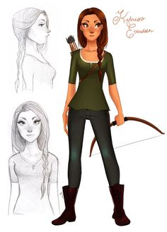 Katniss from the Hunger Games! the little text with her name isn't convicing me too much, it looks all like ~royal~ and stuff for some reason, doesn't i. Cartoon Drawings, Cute Drawings, I Volunteer As Tribute, Katniss Everdeen, Masquerade Party, Mockingjay, Disney Style, Designs To Draw, Hunger Games