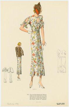 Complet d'après-midi.  Published Date: 1934  From Les grands modèles.    Fascinating hat.  Great floral print.