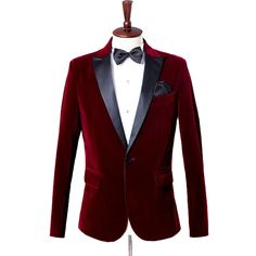 Make a stylish entrance into your next formal affair with this slim fit blazer and matching black bow tie. It gets you noticed for all the right reasons.  Get yours with free shipping to your doorstep.  #Burgundy #Velvet #tuxedo #Blazer #Jacket #Mensstyle #GentlemansGuru