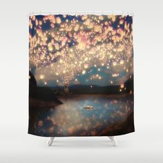 Buy Shower Curtains featuring Love Wish Lanterns by Paula Belle Flores. Made from easy care polyester our designer shower curtains are printed in the USA and feature a 12 button-hole top for simple hanging.