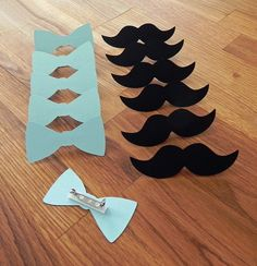 Party Pins: Little Man Party - Die Cut Blue Bow Ties & Mustaches baby shower birthday party