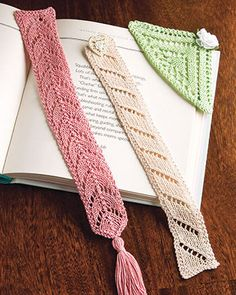 Knitting Pattern for Lacy Bookmark Trio - Set of 3 lace bookmark designs including corner and flat bookmarks. Great stash buster for scrap yarn!