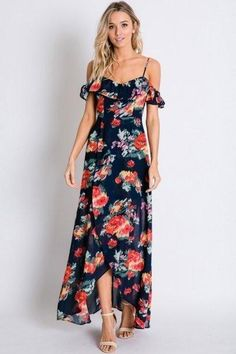 Navy Floral Print Ruffle Cold Shoulder Tulip Wrap Maxi Dress Best Maxi Dresses, Beach Dresses, Casual Dresses, Summer Dresses, Formal Dresses, Fashion Dresses, Women's Fashion, Sundress Outfit, Floral Sundress