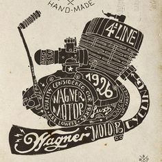 Hand lettering engine block Art Print by BMD Design - X-Small Graphic Design Typography, Lettering Design, Logo Design, Typography Poster, Graphic Art, Motorcycle Art, Bike Art, Motorcycle Engine, Cover Wattpad