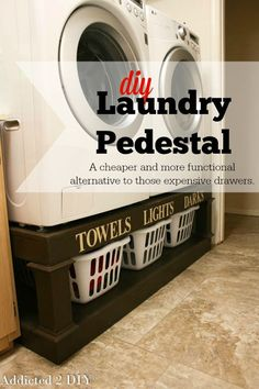 Cheap Space Saving Laundry Room Storage | DIY Laundry Pedestal by DIY Ready at http://diyready.com/laundry-room-organization-ideas/