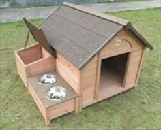 Make a dog house with dog meal stand attached to it.