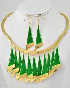 Priscilla Gold Tone Green Tear Drop Charm 19 Inch Long Necklace