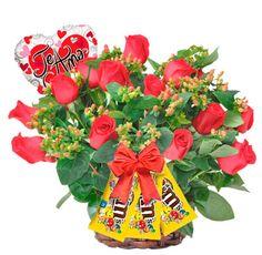 Arreglo Floral Te Quiero - $118.000 [25 rosas rojas, Globo y 3 M&M]