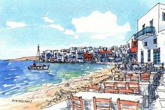 Mykonos Waterfront  Greece art print from an original watercolor painting