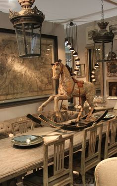 Henhurst: Gustavian furniture- wood horse carving and chairs