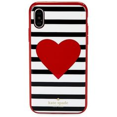 Kate Spade New York Heart Stripe iPhone X Case ($45) ❤ liked on Polyvore featuring accessories, tech accessories, neutral, kate spade, iphone cover case, striped iphone case, iphone cases and apple iphone case