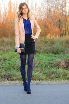 Blue tights, black skirt, blue blouse and beige jacket - ladies work blouses, pink blouse womens, sheer black blouse *ad