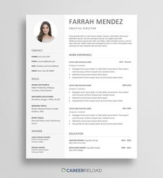 Free Resume Template Download for Word - Resume With Photo