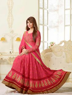 Pink Georgette Anarkali Suit With Embroidery Work Product Code : SKDAA0777