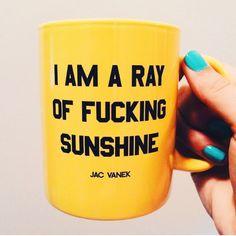 "jac vanek // sunshine mug "" Coffee Love, Coffee Cups, Tea Cups, Coffee Coffee, White Coffee, Cute Mugs, Funny Mugs, Mug Design, Coffee Humor"