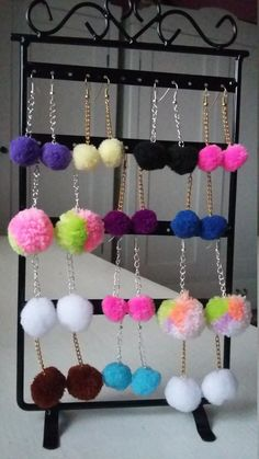 Pom Pom  Earrings / Tassel Earrings / Fluffy Girls Earrings / Cute Woman Pom Pom Earrings / Fluffy Ball Earings