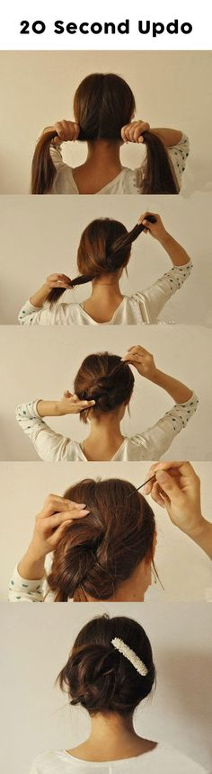 20 Second Updo - #Beauty, #Hair, #Updo