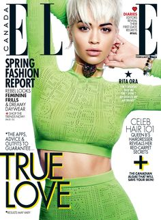 Rita Ora wears a green crop top with a matching skirt on ELLE Canada February 2016 cover Photoshoot